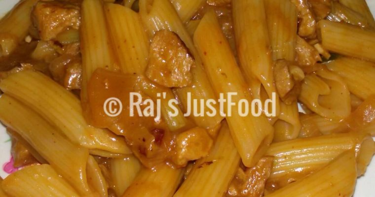 Chicken Pasta with spicy red sauce recipe